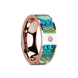 Gretal Flat 14k Rose Gold Men's Wedding Band with Mother of Pearl Inlay & Diamond