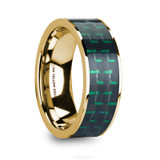Hali 14k Yellow Gold Men's Wedding Band with Black & Green Carbon Fiber Inlay