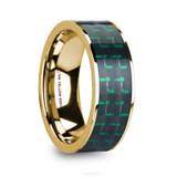Hali 14k Yellow Gold Men's Wedding Band with Black & Green Carbon Fiber Inlay