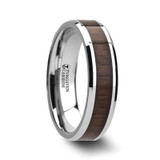 Halifax Tungsten Wedding Band with Black Walnut Wood Inlay