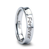 Handwritten Engraved Concave Tungsten Wedding Band