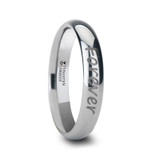 Handwritten Engraved Domed Tungsten Wedding Band