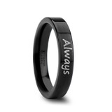 Handwritten Engraved Flat Black Tungsten Wedding Band