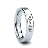 Handwritten Engraved Tungsten Wedding Band