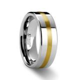 Harrisburg Flat Tungsten Wedding Band with Gold Inlay