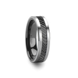 Helix Gear Teeth Pattern Black Ceramic and Tungsten Wedding Band