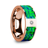 Heraklees 14k Rose Gold Men's Wedding Band with Green/Blue Opal Inlay & Diamond