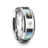 Honolulu Tungsten Wedding Band with Mother of Pearl Inlay & Diamond
