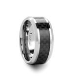 Indianapolis Tungsten Wedding Band with Black Carbon Fiber Inlay