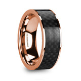 Iorgos 14k Rose Gold Men's Wedding Band with Black Carbon Fiber Inlay