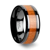 Iowa Black Ceramic Wedding Band with Black Cherry Wood Inlay