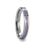 Iris Tungsten Wedding Band with Purple Carbon Fiber Inlay