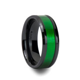 Irving Black Ceramic Wedding Band with Textured Green Inlay