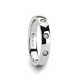 Isabella Domed White Tungsten Wedding Band with 3 Diamonds