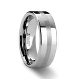 Ivar Flat Tungsten Wedding Band with Platinum Inlay