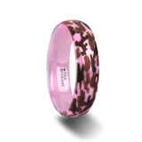 Joan Domed Pink Ceramic Wedding Band with Laser Engraved Camouflage Pattern