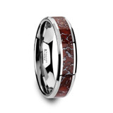 Jurassic Tungsten Wedding Band with Red Dinosaur Bone Inlay