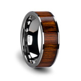 Kalani Flat Tungsten Wedding Band with Koa Wood Inlay