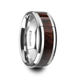 Kevaz Tungsten Wedding Band with Bubinga Wood Inlay