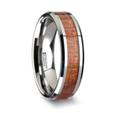 Khaya Tungsten Wedding Band with Mahogany Wood Inlay