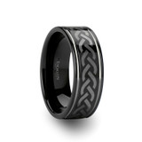 Kilmore Celtic Pattern Black Tungsten Wedding Band