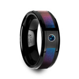 Klein Black Ceramic Wedding Band with Blue/Purple Color Changing Inlay & Alexandrite