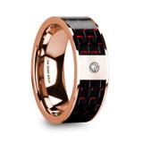 Klemenis Flat 14k Rose Gold Men's Wedding Band with Red & Black Carbon Fiber Inlay & Diamond