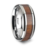 Kona Tungsten Wedding Band with Koa Wood Inlay