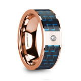 Kyros 14k Rose Gold Men's Wedding Band with Blue/Black Carbon Fiber Inlay & Diamond