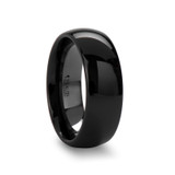 Landon Domed Black Ceramic Wedding Band