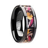 Laurel Realistic Tree Camouflage Black Ceramic Wedding Band with Pink Oak Leaves