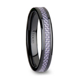 Lilac Black Ceramic Wedding Band with Purple Carbon Fiber Inlay