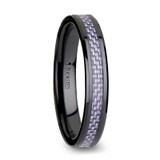 Lilac Black Ceramic Wedding Band with Purple Carbon Fiber Inlay