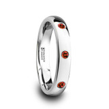 Maera Domed Tungsten Wedding Band with 3 Red Rubies