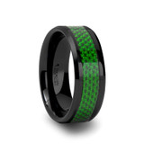 Matlal Black Ceramic Wedding Band with Green Carbon Fiber Inlay