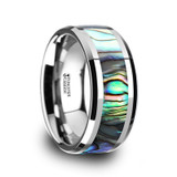 Maui Tungsten Wedding Band with Mother of Pearl Inlay