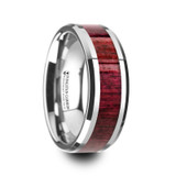 Mauve Tungsten Wedding Band with Purpleheart Wood Inlay