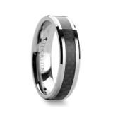 Maximus Tungsten Wedding Band with Black Carbon Fiber Inlay