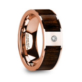Mitros 14k Rose Gold Men's Wedding Band with Black Walnut Wood Inlay & Diamond