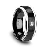 Monarch Brushed Black Ceramic Diamond Wedding Band
