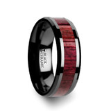 Morado Black Ceramic Wedding Band with Purple Heart Wood Inlay