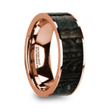 Moris Flat 14k Rose Gold Men's Wedding Band with Blue Dinosaur Bone Inlay