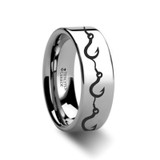 Multiple Fishing Hook Pattern Engraved Flat Tungsten Wedding Band