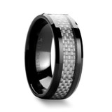 Mystique Black Ceramic Wedding Band with White Carbon Fiber Inlay