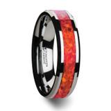 Nebula Tungsten Wedding Band with Red Opal Inlay