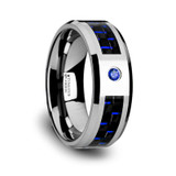 Neptune Tungsten Wedding Band with Black/Blue Carbon Fiber Inlay & Blue Diamond