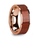 Nikanor 14k Rose Gold Men's Wedding Band with Padauk Wood Inlay
