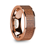 Niketas 14k Rose Gold Men's Wedding Band with Sapele Wood Inlay