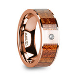 Nikias 14k Rose Gold Men's Wedding Band with Mahogany Wood Inlay & Diamond