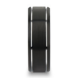 Nocturne Brushed Black Tungsten Wedding Band with Grooves